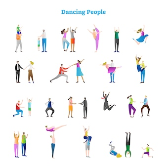 Funky dancing people collection d'illustrations vectorielles