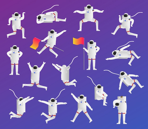 Funny astronaute pose collection