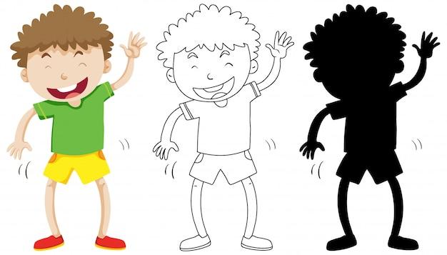 Funny boy danser en couleur et silhouette et contour