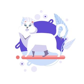 Funny cartoon chat angora turc debout et à la recherche de quelque chose.