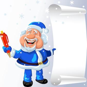 Funny cartoon santa claus joue avec un stylo et un parchemin dans ses mains