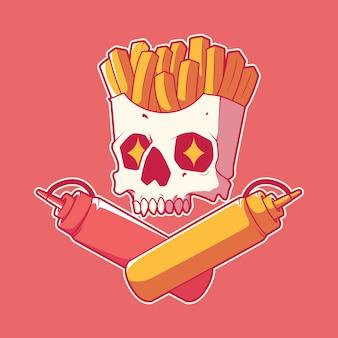 Funny condiments skull caractère vector illustration concept de design drôle d'horreur alimentaire
