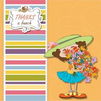 Funny girl avec un bouquet de fleurs