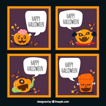 Funny Halloween Cards With Pumpkin Vecteur gratuit
