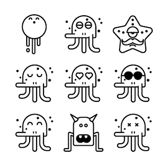 Funny monster icons set