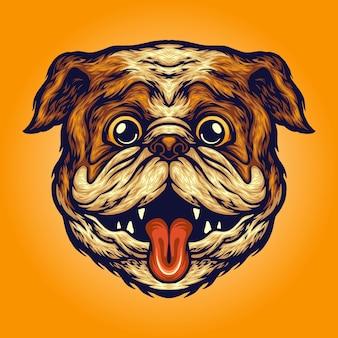 Funny pug head dog illustrations vectorielles pour votre travail logo, t-shirt de mascotte, autocollants et conceptions d'étiquettes, affiche, cartes de voeux, entreprise ou marques publicitaires.