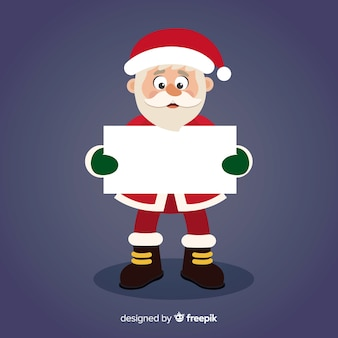 Funny santa tenant une pancarte blanche