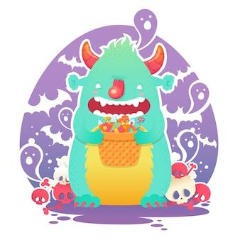 Funny smiling halloween monstre mignon