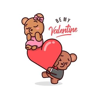 Funny valentine ilustration un ours mignon apporte un grand cœur et sa petite amie au-dessus