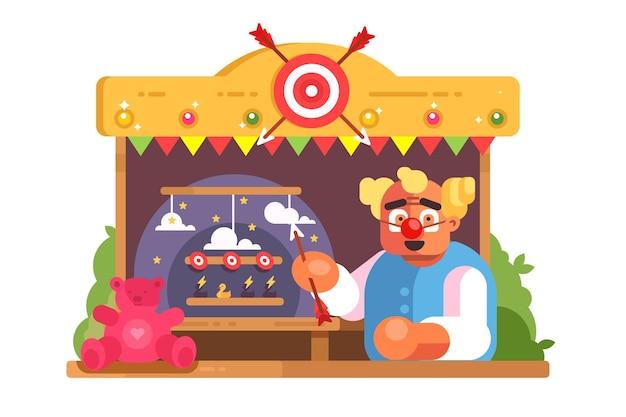 Funnyman de la galerie de tir. homme au nez de clown tenant la flèche.