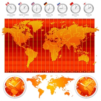 Fuseaux horaires et horloge avec drapeaux de pays