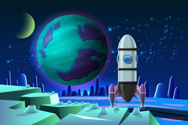 Une fusée a atterri sur une planète dans le cadre du programme d'exploration spatiale humaine sur terre.