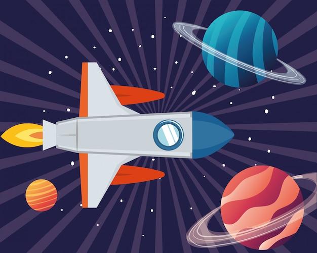 Fusée dans l'espace avec les planètes du système solaire