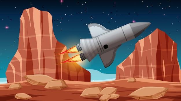 Fusée dans la scène spatiale