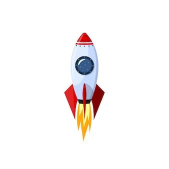 Fusée de dessin animé spatiale isolée