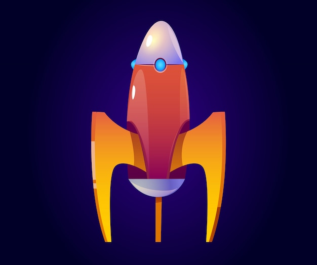 Fusée de dessin animé de vecteur, vaisseau spatial orange