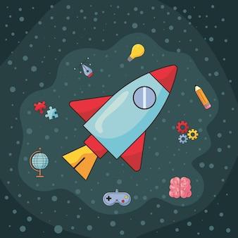 Fusée et éléments créatifs
