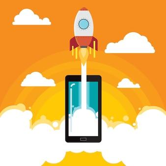 Fusée entreprise idée mobile illustration vectorielle