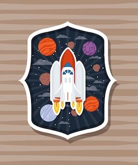 Fusée sur étiquette avec des planètes