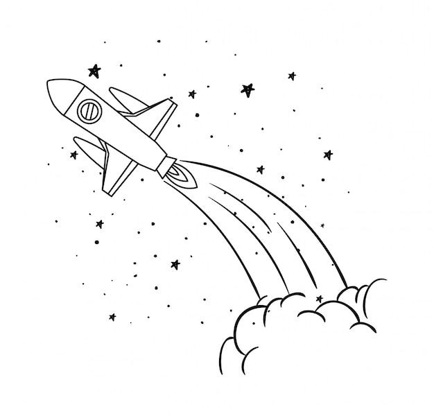 Fusée et étoiles