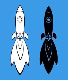 La fusée avec le feu, volant dans l'espace. deux versions.
