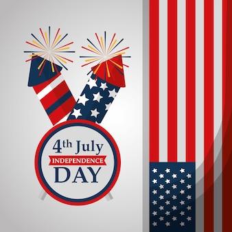 Fusée feux d'artifice drapeau drapeau fête de l'indépendance américaine