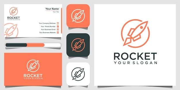Fusée avec illustration d'icône de style art en ligne. et carte de visite