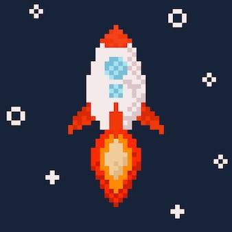 Fusée. illustration de pixel art.