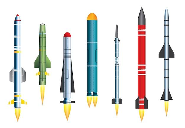 Fusée lance-missiles militaire isolé sur blanc