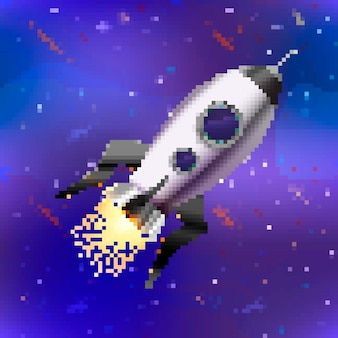 Fusée mignonne de vaisseau spatial brillant brillant dans un style pixel art sur fond d'espace