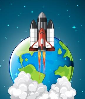 Une fusée de la navette spatiale quittant la terre
