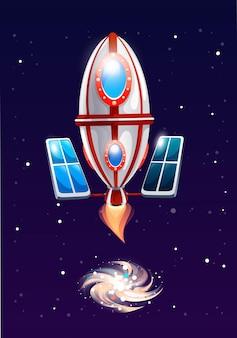 Fusée ovale avec batterie solaire vole dans l'espace