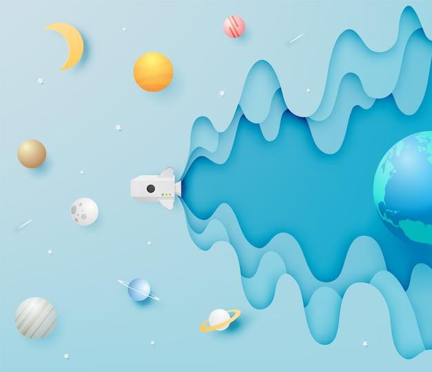 Fusée en papier et art du papier du système solaire avec illustration vectorielle fond ton pastel