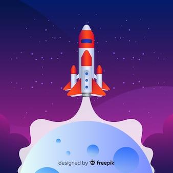 Fusée plate sur le fond de la lune