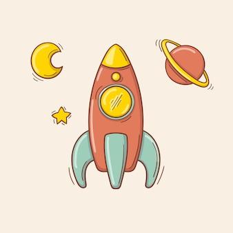 Fusée rouge et bleue de jouet dessiné à la main avec une moitié de lune, d'étoile et de planète