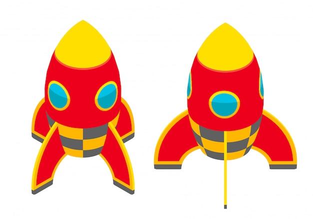 Fusée rouge isométrique