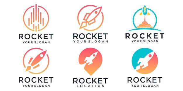 La fusée se combinent avec le vecteur de conception de jeu d'icônes de logo d'emplacement de broche