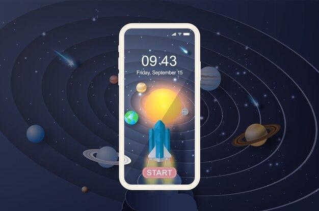 Fusée smartphone cercle de démarrage pour système solaire.