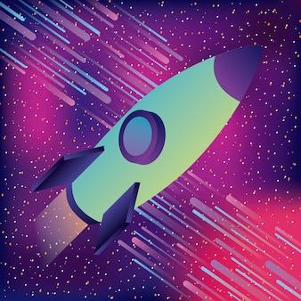 Fusée spatiale astéroïdes starry réalité virtuelle
