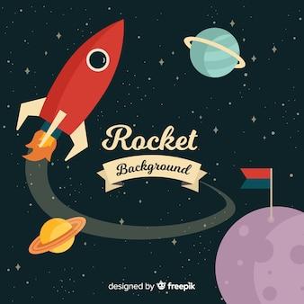 Fusée spatiale classique au design plat
