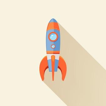 Fusée spatiale commencer emblème de voyage futuriste de dessin animé avec étoiles vector illustration