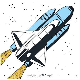Fusée spatiale dessiné à la main moderne