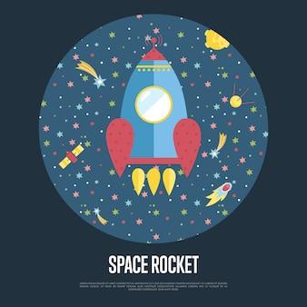 Fusée spatiale illustration conceptuelle avec modèle de texte