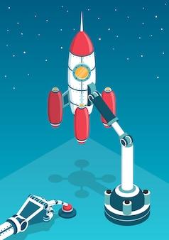 Fusée spatiale juste avant le départ