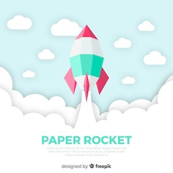 Fusée spatiale moderne au design plat