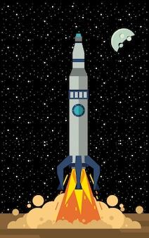 Fusée spatiale sur la station qui décolle
