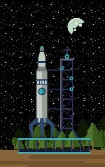 Fusée spatiale sur la station