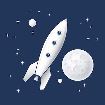 Fusée spatiale volant dans l'espace avec des planètes et des étoiles et la lune. fusée spatiale volant dans l'espace avec des planètes et des étoiles et la lune.