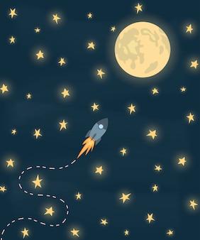Fusée spatiale volant vers la lune