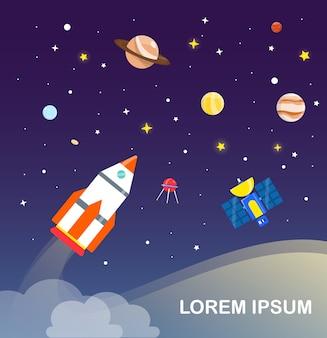 Fusée et système solaire infographie design plat.